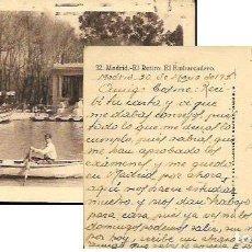 Postales: POSTAL * MADRID , EL RETIRO , EL EMBARCADERO * ENVIADA AL MAESTRO COSME CASAS CAMPS 1936. Lote 89861576