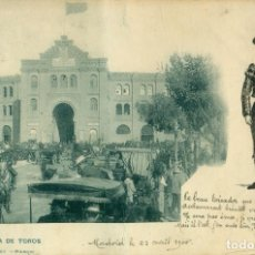 Postales: MADRID PLAZA DE TOROS CIRCULADA EN 1900 CON UN PELON. EXCELENTE DIBUJO A TINTA CHINA DE UN TORERO. Lote 92210995