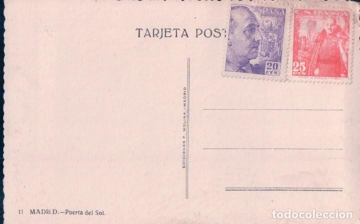 Postales: POSTAL MADRID 11 - PUERTA DEL SOL - MOLINA - COCHES EPOCA - SELLOS A EL REVERSO - Foto 2 - 96137303