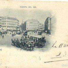 Postales: MADRID PUERTA DEL SOL HAUSER Y MENET 24 CIRCULADA EN 1900 SELLO PELON RARA MATASELLOS ESTAFETA ESTE. Lote 97660567