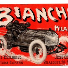 Postales: ANTIGUA POSTAL AUTOMÓVILES BIACNCHI MILANO - JOSE CERVERA - MADRID. Lote 98965583