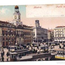 Postales: POSTAL MADRID - PUERTA DEL SOL. TRANVIAS. Lote 100175823