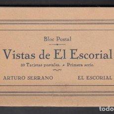Postales: VISTAS DE EL ESCORIAL 20 TARJETAS POSTALES BLOC POSTAL PRIMERA SERIE EDITA ARTURO SORIANO AÑOS 20-30. Lote 100362655