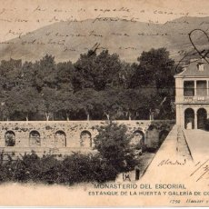 Postales: MADRID.- SAN LORENZO DEL ESCORIAL, ESTANQUE DE LA HUERTA, CIRCULADA 1907, SIN DIVIDIR,JMOLINA1946. Lote 101432223