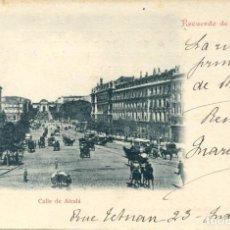 Postales: MADRID-RECUERDO DE MADRID -CALLE DE ALCALÁ- SANZ Nº 126- 1902 SIN DIVIDIR-RARA. Lote 102776159