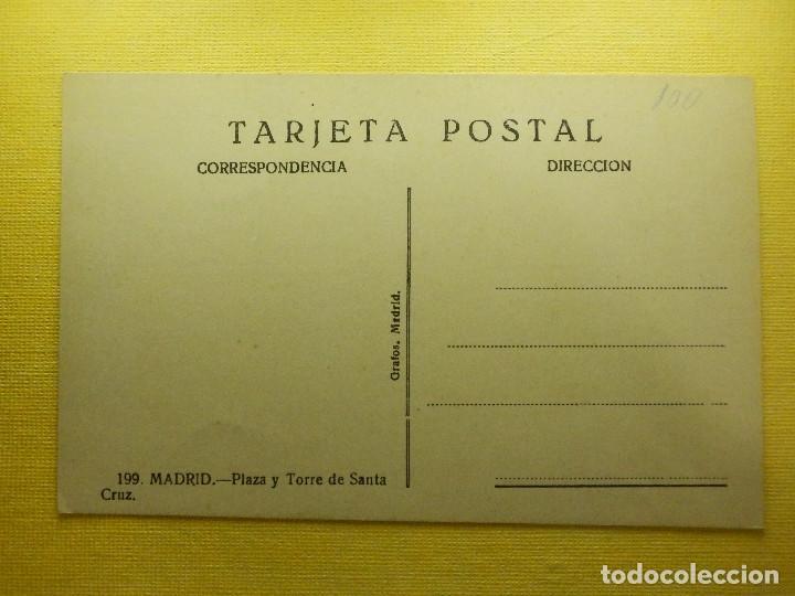 Postales: POSTAL - ESPAÑA - MADRID - 199.- PLAZA Y TORRE DE SANTA CRUZ - GRAFOS - NE - NC - Foto 2 - 103645695