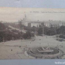Postales: MADRID. SALÓN DEL PRADO Y FUENTE DE NEPTUNO. CARROS DE ÉPOCA.. Lote 103964951