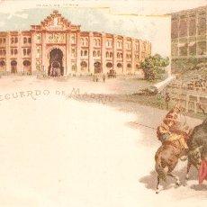 Postales: RECUERDO DE MADRID PLAZA DE TOROS POSTAL LITOGRAFÍA TIPO GRUSS. Lote 104070971