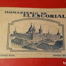 Postales: POSTALES DEL REAL MONASTERIO DE EL ESCORIAL.TOMÁS MORA. PRIMERA SERIE. ÁLBUM DE 20 POSTALES.. Lote 104960107