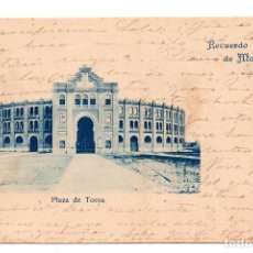 Postales: MADRID.- RECUERDO DE MADRID. PLAZA DE TOROS. CON SELLO ALFONSO XIII PELON.. Lote 110240115