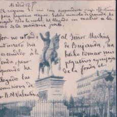 Postales: POSTAL MADRID - ESTATUA DEL MARQUES DEL DUERO - 35 LAURENT - CIRCULADA. Lote 110745943