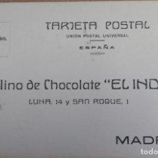 Postales: TARJETA POSTAL PUBLICIDAD MADRID, MOLINO CHOCOLATE EL INDIO. CALLE LUNA, AÑO 1912, REVERSO PEDIDOS.. Lote 150353128