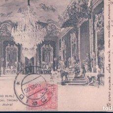 Postales: POSTAL 2037 HAUSER Y MENET MADRID - PALACIO REAL - SALON DEL TRONO - CIRCULADA - SIN DIVIDIR. Lote 112915479