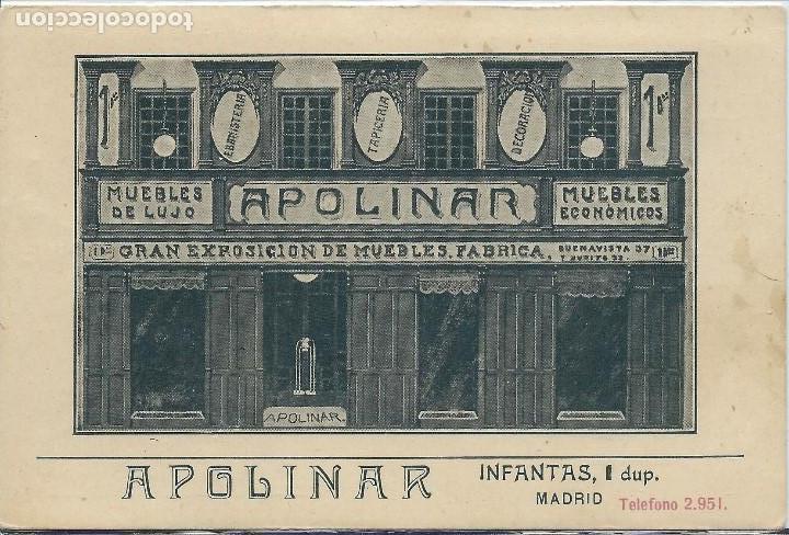 MADRID - CASA DE MUEBLES APOLINAR EN LA CALLE INFANTAS Nº 1 (Postales - España - Comunidad de Madrid Antigua (hasta 1939))