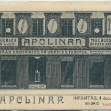 Postales: MADRID - CASA DE MUEBLES APOLINAR EN LA CALLE INFANTAS Nº 1. Lote 118010783