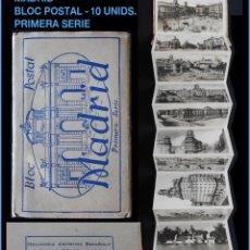 Postales: BLOC DE 10 POSTALES - MADRID - PRIMERA SERIE - HELIOTIPIA ARTÉSTICA ESPAÑOLA. Lote 118656919