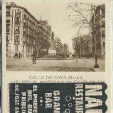 Postales: MADRID - CALLE DE GOYA Y PUBLICITARIA. Lote 118789675