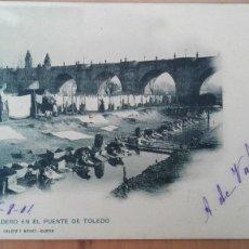 Postales: POSTAL MADRID Nº 767 ED. A CANOVAS UN LAVADERO EN PUENTE TOLEDO HAUSER PERFECTA CONSERV CIRCUL 1901. Lote 119988399