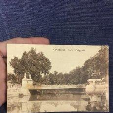 Postales: ANTIGUA POSTAL ARANJUEZ PUENTE COLGANTE GRAFOS MADRID ALICANTE 1928. Lote 122479619