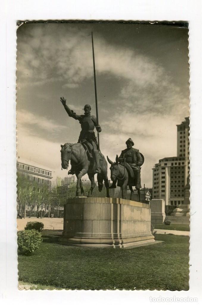 MADRID MONUMENTO A CERVANTES DON QUIJOTE Y SANCHO PANZA (Nº168) COLOREADA ESCRITA (Postales - España - Madrid Moderna (desde 1940))