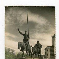 Postales: MADRID MONUMENTO A CERVANTES DON QUIJOTE Y SANCHO PANZA (Nº168) COLOREADA ESCRITA . Lote 126755815
