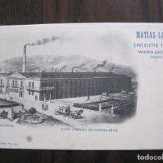 Postales: POSTAL ANTIGUA-FABRICA-EL ESCORIAL- PUBLICIDAD CHOCOLATES MATIAS LOPEZ -VER FOTOS-(53.098). Lote 127247895
