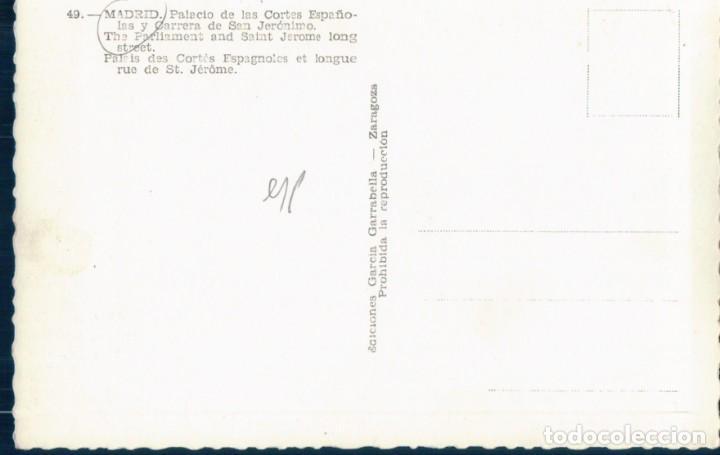 Postales: POSTAL MADRID 49 - PALACIO DE LAS CORTES ESPAÑOLAS Y CARRERA DE SAN JERONIMO - GARRABELLA - Foto 2 - 131627862