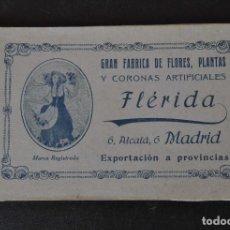 Postales: MADRID.- SERIE 8 POSTALES.- GRAN FABRICA DE FLORES, PLANTAS Y CORONAS ARTIFICIALES - FLÉRIDA.. Lote 132233402