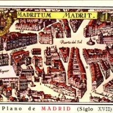 Postales: PLANO DE MADRID – SIGLO XVII – AÑO 1968 – HELIOTIPIA ARTÍSTICA - SC. Lote 133341750