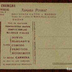 Postales: POSTAL DE PUBLICIDAD DE SASTRERIA CARMENA, MADRID, EL REY DE LOS GABANES, EL PRINCIPE DE LAS TRINCHE. Lote 133602654
