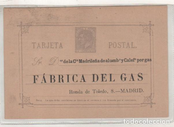 TARJETA POSTAL FÁBRICA DEL GAS. MADRID. MADRILEÑA DEL ALUMBRADO. ENTERO POSTAL 1880 (Postales - España - Comunidad de Madrid Antigua (hasta 1939))