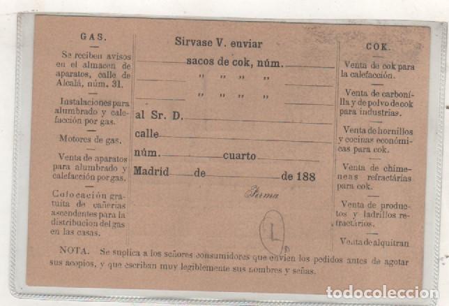 Postales: Tarjeta Postal Fábrica del Gas. Madrid. Madrileña del alumbrado. Entero postal 1880 - Foto 2 - 134786642