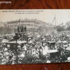 Postales: ANTIGUA POSTAL. BODAS REALES. ASPECTO DE LA PLAZA DE CASTELAR AL PASO DE LA COMITIVA REGIA. Lote 136379590