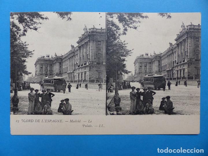 MADRID, EL PALACIO - POSTAL ESTEREOSCOPICA - L. LEVY (Postales - España - Comunidad de Madrid Antigua (hasta 1939))