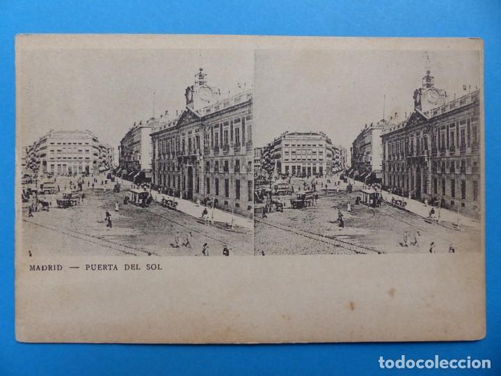 MADRID, PUERTA DEL SOL - POSTAL ESTEREOSCOPICA (Postales - España - Comunidad de Madrid Antigua (hasta 1939))