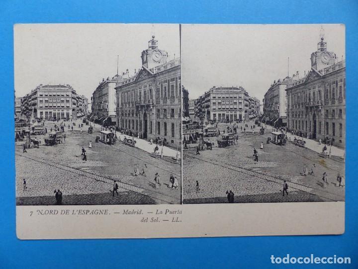 MADRID, LA PUERTA DEL SOL - POSTAL ESTEREOSCOPICA - L. LEVY (Postales - España - Comunidad de Madrid Antigua (hasta 1939))