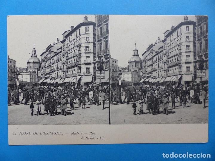 MADRID, CALLE ALCALA - POSTAL ESTEREOSCOPICA - L. LEVY (Postales - España - Comunidad de Madrid Antigua (hasta 1939))