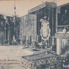 Postales: MONASTERIO DE EL ESCORIAL, PALACIO, SALON DE AUDIENCIAS. Lote 139116570