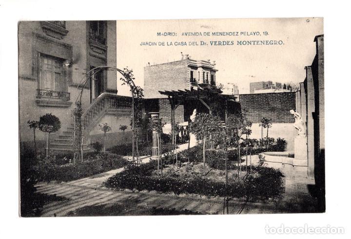 MADRID.- AVENIDA MENENDEZ PELAYO.-JARDIN DE LA CASA DEL DR. VERDES MONTENEGRO (Postales - España - Comunidad de Madrid Antigua (hasta 1939))