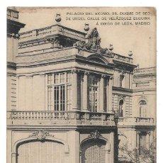 Postales: MADRID .- PALACIO DUQUE DE SEO DE URGEL , CALLE VELAZQUEZ .- EDICION HAUSER-MENET . Lote 142182954