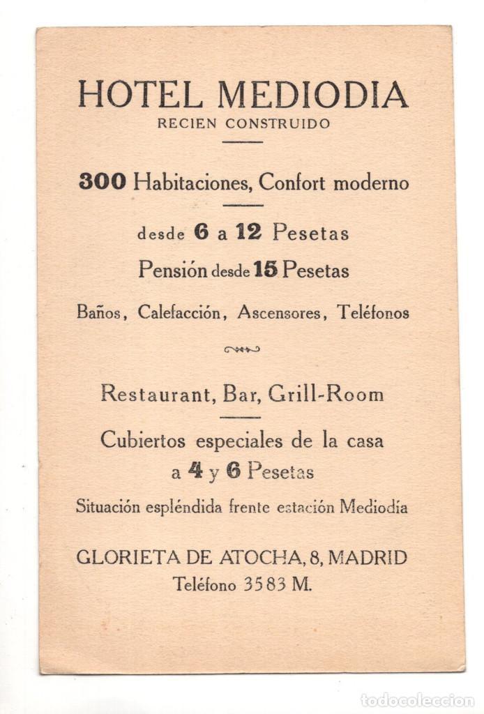 Postales: MADRID.- HOTEL DEL MEDIODIA - CON PUBLICIDAD - Foto 2 - 142870026