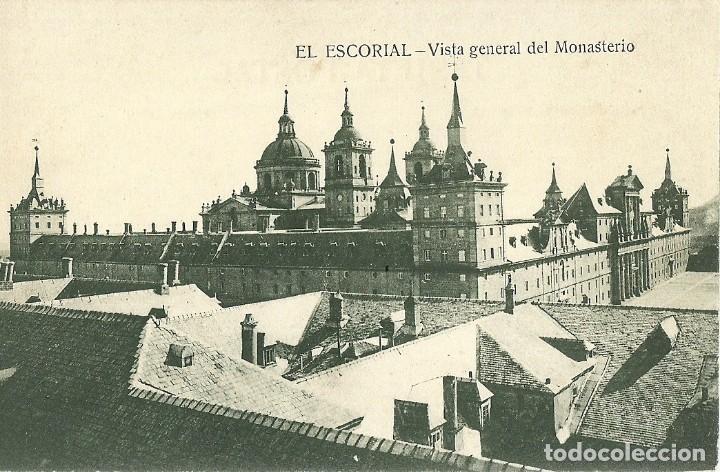ANTIGUA POSTAL EL ESCORIAL VISTA GENERAL DEL MONASTERIO HIJO DE NICOLAS SERRANO (Postales - España - Madrid Moderna (desde 1940))