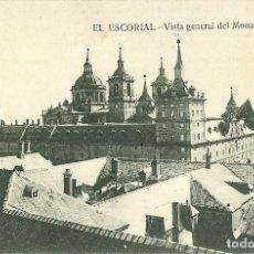 Postales: ANTIGUA POSTAL EL ESCORIAL VISTA GENERAL DEL MONASTERIO HIJO DE NICOLAS SERRANO. Lote 144722730