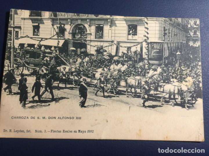 CARROZA DE S.M. DON ALFONSO XIII. FOT. H. LEYDEN. FIESTAS REALES EN MAYO 1902. NUM 3. SIN CIRCULAR (Postales - España - Comunidad de Madrid Antigua (hasta 1939))