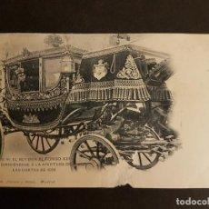 Postales: MADRID S. M. EL REY DON ALFONSO XIII DIRIGIENDOSE A LA APERTURA DE LAS CORTES DE 1899. Lote 147138398