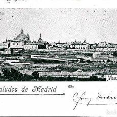 Postales: SALUDOS DE MADRID-CIRCULADA AÑO 1900 CON PELON. Lote 147816162