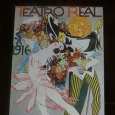 Postales: ENTRADA O CARTEL DE PEQUEÑO FORMATO DEL TEATRO REAL, BAILE DE MASCARAS DE 1916, MADRID, MIDE 12,2 X . Lote 147847146