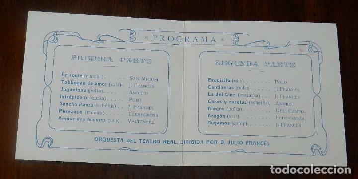 Postales: PROGRAMA TEATRO REAL 1913, GRAN BAILE DE MASCARAS, CARNAVAL, DIPTICO DE CARTULINA, MIDE ABIERTO 19 X - Foto 2 - 147978826