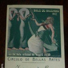 Postales: INVITACION DE SEÑORA AL BAILE DE MASCARAS DE 1912, TEATRO REAL-CIRCULO DE BELLAS ARTES DE MADRID, IL. Lote 147980382