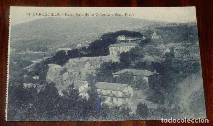 POSTAL DE CERCEDILLA (MADRID). PARTE BAJA DE LA COLONIA Y SIETE PICOS. NUM. 24. ED. BAZAR DE CERCEDI (Postales - España - Comunidad de Madrid Antigua (hasta 1939))
